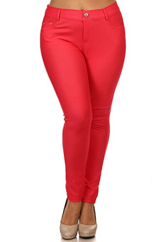 Women's Jeggings - Pull On Slimming Cotton Jean Like Leggings (Red, 3XL) ()