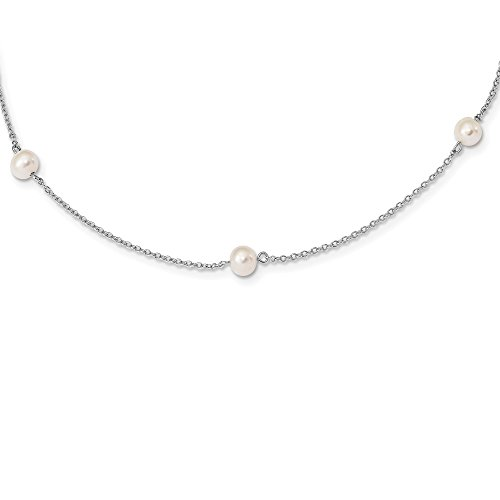 925 Sterling Silver Childs 5 5.5mm Freshwater Cultured Pearl Station Chain Necklace Pendant Charm Fine Jewelry Gifts For Women For Her