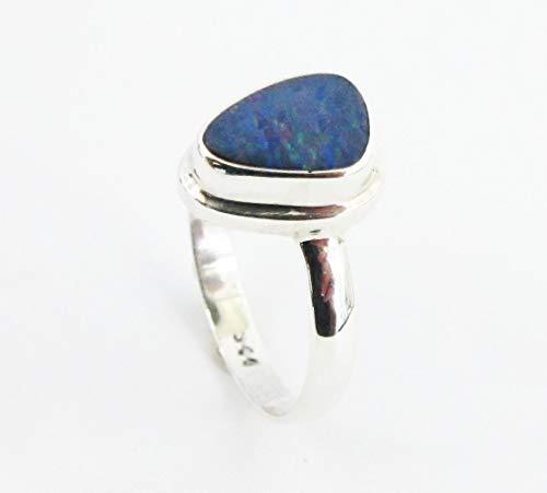 Sterling Australian Opal Doublet - handmade 925 sterling silver ring with genuine australian fire opal size 8, doublet opal ring