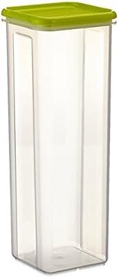Rotho Schüttdose Sunshine, Inthalt 1.8 L Domino limonka, Kunststoff, transparentLime grün, 10.5 x 10.5 x 28 cm