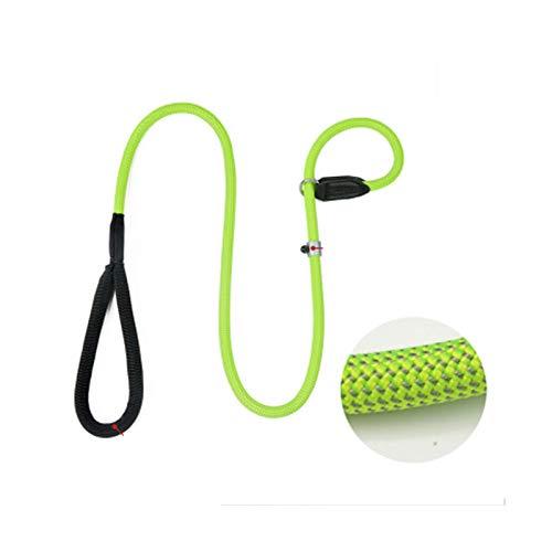Fluorescent green 2 meters fineFFLSDR Nylon Comfortable Antishock P Chain, Dog Leash, Medium large Dog Leash Collar, Multicolor Optional (color   Peach pink, Size   2 meters fine)