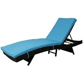 Amazon Com Kinbor Patio Wicker Rattan Chaise Lounge