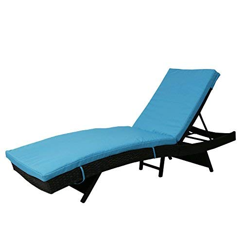Cheap Kinbor Patio Wicker Rattan Chaise Lounge Chair Outdoor Black Adjustable PE Pool Chairs Furniture w/Blue Cushion