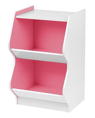 IRIS 2 Tier Curved Edge Storage Shelf, White and Pink