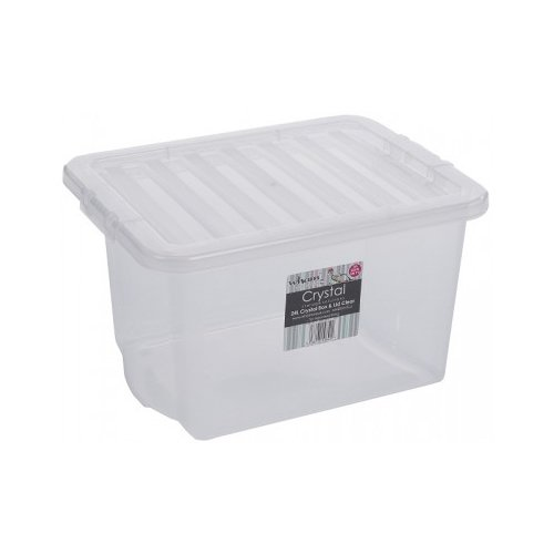 5x 24 Litre CLEAR PLASTIC STACKER BOX Large Storage Box With Lids WhatMore