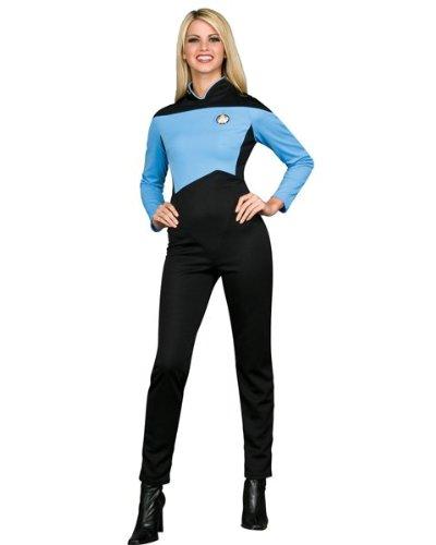 Star Trek Blue Jumpsuit - Star Trek Tng Adult Black and Blue Jumpsuit