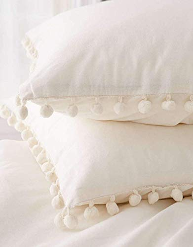 Flber Pom-Fringed Sham Set Cotton Pillow Covers King Size,19.6in x35.4in,Set of 2