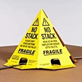 The Packaging Wholesalers 8 x 8 x 10'' Tri-Lingual No Stack Pallet Cones, Yellow (PALLET CONES YB), Case of 50