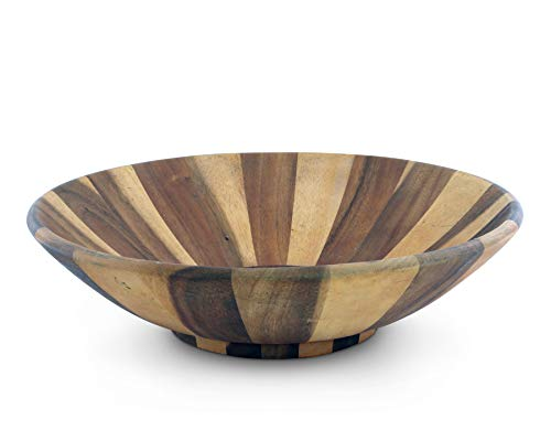 "Arthur Court Salad Bowl Acacia Wood Serving for Fruits or Salads Wok Wave Style Extra Large 16"" Diameter x 7"" Height Single Wooden Bowl"