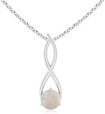 ANGARA Octubre Piedra Natal – Solitario Redondo Natural ópalo Infinito Twist Collar Colgante Collar para Mujer