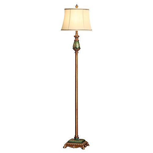 LampRight Classic European Country Style Hand Painted Retro Floor Lamp 64 inch - Traditional Elegant Delicate Resin Base, Unique Artistic Hand Painted Body and Original Fashion Fabric (Country Style Floor Lamps)