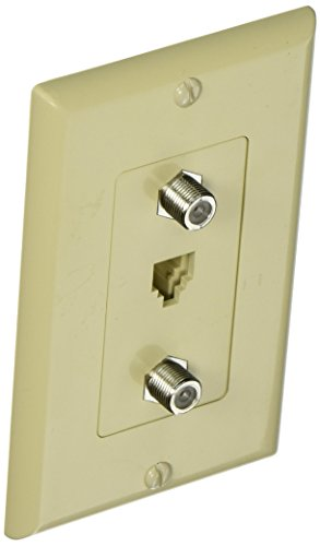 Morris 85230 Decorative Dual F Connector and Single RJ11 4 Conductor Phone Jack Wall Plate, 2 Piece, Ivory