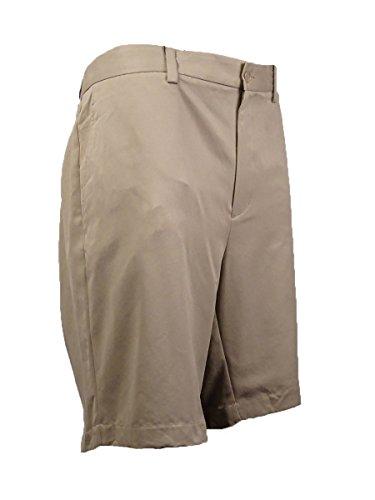 Discount Tasso Elba Mens Big & Tall Solid Flat Front Walking Shorts Tan 44B