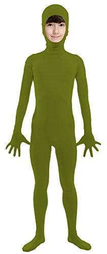 VSVO Kids Army Green Open Face Full Body Zentai Supersuit Costumes (Large, Army Green) (Child Green Army Man Costume)