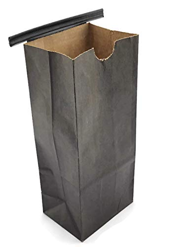 NEWPAK - Compostable Recycled Eco- Friendly Colored Kraft Paper Tin Tie Bags 1/2LB-(8oz) 3 3/8 x 2 1/2 x 7 3/4 (Black)