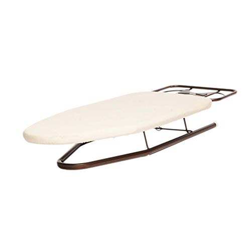 Countertop Ironing Board - Homz Deluxe Tabletop Compact Rest, Natural Cotton Cover and Oil Rubbed Bronze Metal Legs Countertop Ironing Board, White