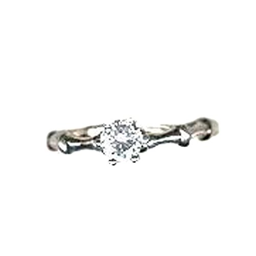 Just Give Me Jewels Silver Plated Round Solitaire Cubic Zirconia Ring (Size 6)
