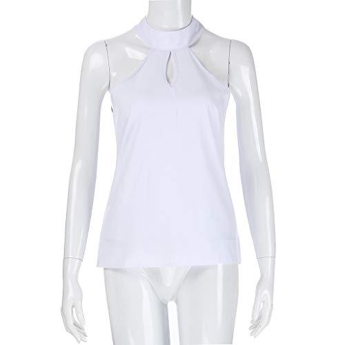 Damen V-Ausschnitt Blusen Rüschen Ärmellos Sommerbluse Freizeit Shirts Oberteil
