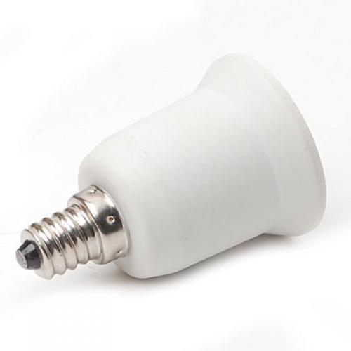 Dovewill Simple Use Candelabra Light Bulb Socket Adapter Convertor E12 to E27 Type White