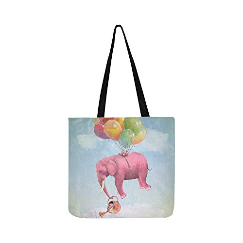 Pink Elephant In The Sky Pattern Canvas Tote Handbag Shoulder Bag Crossbody Bags Purses For Men And Women Shopping Tote