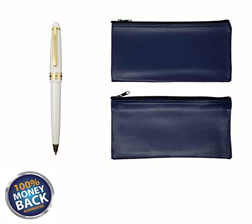 (3-Piece Set PM Company Security Bank Deposit/Utility Zipper Coin Bag/Pouch Safe Money Organizer Bag / 11 X 5.5 Inches (2 Navy+Free Pen - PU3111))