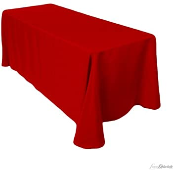 Amazon.com: 8 Feet Tablecloth Red Fitted Tablecloth ...