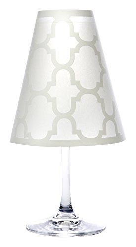 di Potter WS303 Manhattan Fret Paper White Wine Glass Shade, White (Pack of 12) by di Potter