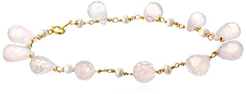 (Gold Over Silver Rose Quartz Teardrops and Rondelles with Linked  Freshwater Cultured Pearl)