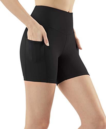 (TSLA Shorts Bike Running Yoga w Hidden Pockets, Pocket Light 5inch(fys25) - Black, Medium (Size 8-10_Hip39-41 Inch))