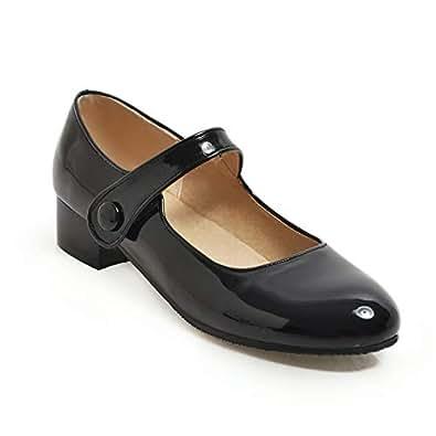BalaMasa Womens APL11793 Slip-Resistant Tuxedo Outdoor Black Pu Mary Jane Heels - 2.5 UK (Lable:34)