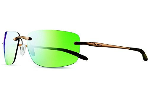 Revo Outlander RE 1029 02 GN Polarized Rectangular Sunglasses, Brown/Green Water, 60 - N Descend Sunglasses Revo
