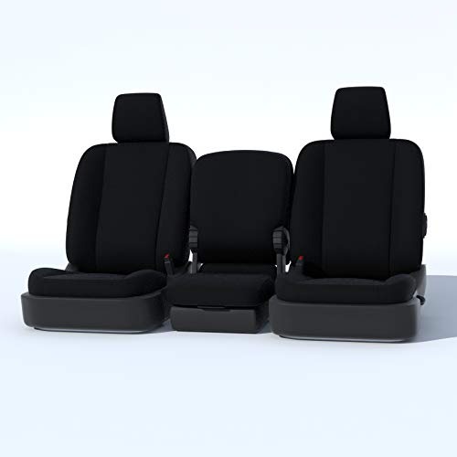 C1128-X1-FBA Durafit Black Seat Covers- 2007-2013 Chevy Truck, Silverado, Avalanche and GMC Sierra LS 40/20/40 .Cup Holders in armrest, no Side airbags. Custom Seat Covers Solid Black Twill. ()
