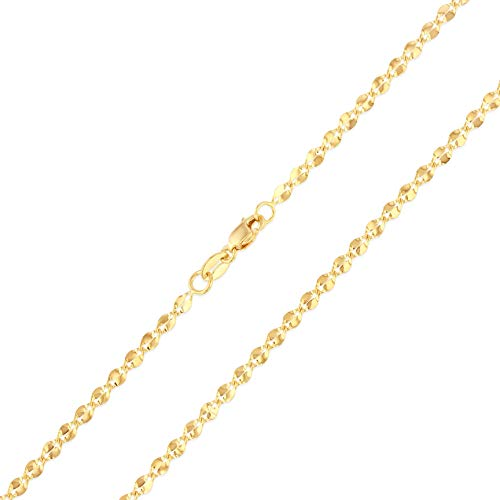 (Ioka - 14K Yellow Gold 2.2mm Hollow Curve Mirror Chain Necklace with Lobster Clasp - 18