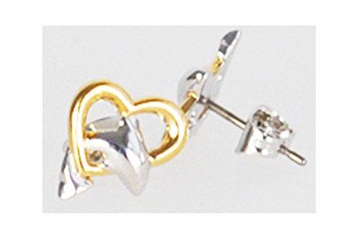Enfants de la jeunesse Boucles d'oreilles Boucles d'oreilles dauphin coeur–2tons bicolore–10x 10mm