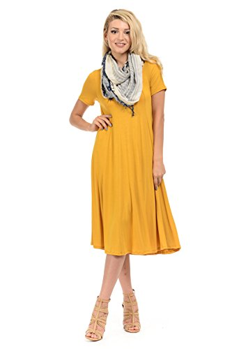 iconic luxe Women's Short Sleeve A-Line Trapeze Midi Dress Small - Dress Mod Yellow