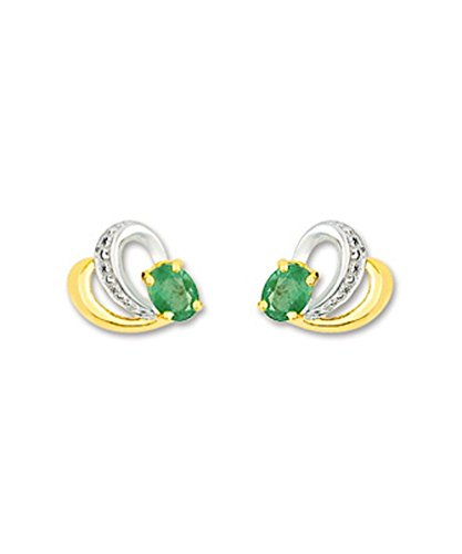 OR by Stauffer - Boucles d'oreilles or bicolore 375/1000, émeraudes by Stauffer