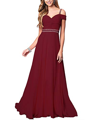 Aox Women's Formal Chiffon Sleeveless A Line Halter Long Maxi Party Evening Dress Skirt (S, Red Wine Strap) ()