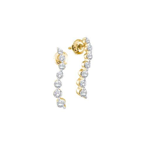 14k Yellow Gold Round 7 Seven Diamond Dangle Twist Journey Earrings - 17mm Height 3mm Width (1/2 cttw) (Diamond Earrings Round Journey)