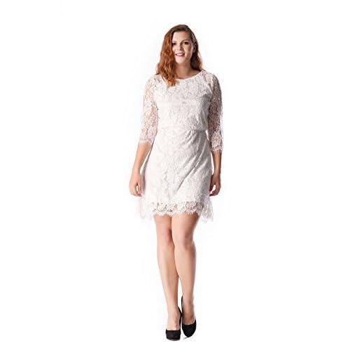 b4ba58613c52 60%OFF ESPRLIA Plus Size Women's Lace 3/4 Sleeves Midi Business Cocktail  Short