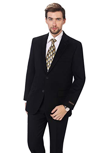 (P&L Men's Premium Wool Blend Business Blazer Dress Suit Jacket Black)