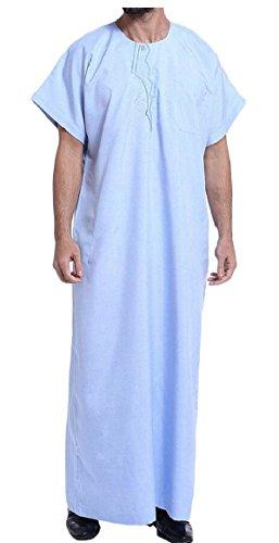 ouxiuli Men's Short Sleeve Muslim Thobe Arabic Arab Robe Clothing 1 XL
