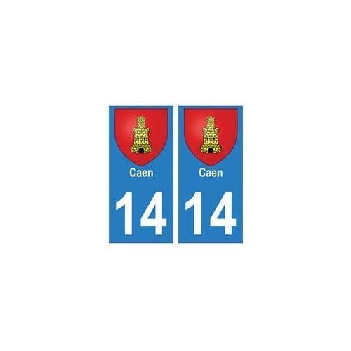 14 Caen ville autocollant plaque - arrondis