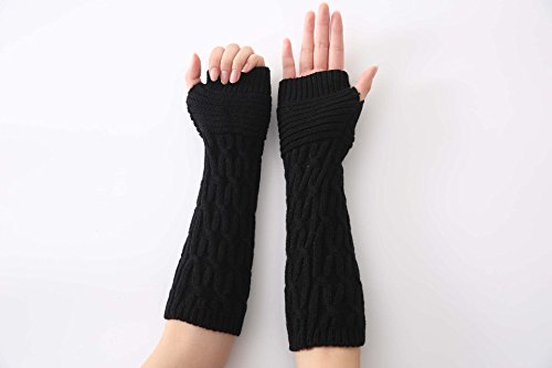 Women's Crochet Long Fingerless Gloves with Thumb Hole (01-Black)