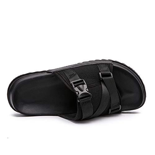 〓COOlCCI〓Men's Sandals, Unisex Comfort Double Buckle EVA Flat Sandals,Anti-Slip Water Shoe Beach Sandals Slippers Black -