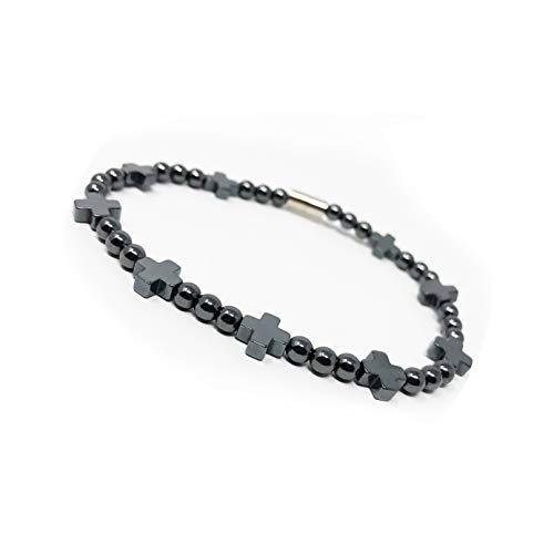 LZD Hematite Non-Magnetic Bracelet Mens Womens Unisex Black Cross Magnetic Clasp X44