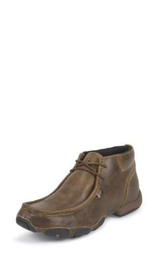 Justin Mens Tan Distressed Leather Casual Boots 4in Lace-Up (Justin Tan Chukka)