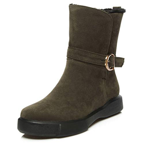 JOYBI Women Round Toe Boot Comfortable Buckle Fur Lined Fashion Slip On Winter Faux Suede Mid Calf Boots Green