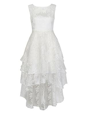 Persun Women's White Floral Print Gauze Panel Multi Layer Sleeveless Hi-lo Dress