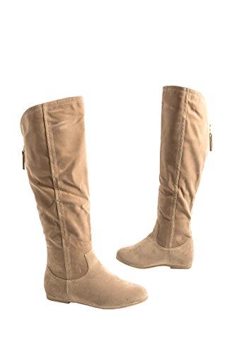 Elara Damen Stiefel | Warm Gefüttert | Bequeme Langschaft Boots | Flache Zipper Beige