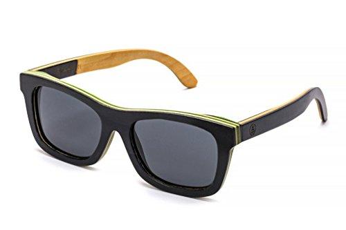 Tree Tribe Wood Sunglasses - Polarized Lens, Skateboard Wooden Frame + Bamboo Case - Black Frame, Multicolored, Black - For Sunglasses Sale Wooden